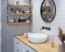 Aranżacje - Biała szara łazienka, styl rustykalny - zdjęcie od GTV - Homebook