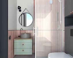 Mieszkanie inwestycyjne, wynajem długoterminowy - Mała szara łazienka na poddaszu w bloku w domu jednorodzinnym z oknem, styl glamour - zdjęcie od Architekci Modelarnia