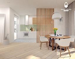 Mieszkanie w Centrum Krakowa - Mały szary salon z kuchnią z jadalnią, styl skandynawski - zdjęcie od OGRODY I WNĘTRZA - KAROLINA POPIEL