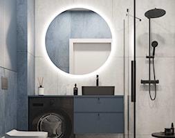 Mała łazienka z prysznicem z granatowym akcentem koloru. - zdjęcie od KAROLINA POPIEL - ARCHITEKURA WNĘTRZ - Homebook