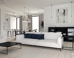 Dom pod Tarnowem - Średni biały salon z barkiem z kuchnią z jadalnią z tarasem / balkonem, styl skandynawski - zdjęcie od OGRODY I WNĘTRZA - KAROLINA POPIEL