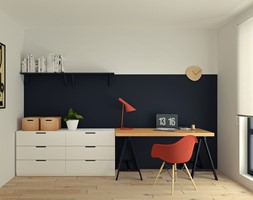 Mieszkanie na Zabłociu 2. - Średnie czarne białe biuro domowe kącik do pracy, styl skandynawski - zdjęcie od OGRODY I WNĘTRZA - KAROLINA POPIEL