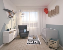 Pokój dla chłopca - Średni biały szary pokój dziecka dla chłopca dla dziewczynki dla niemowlaka, styl skandynawski - zdjęcie od OGRODY I WNĘTRZA - KAROLINA POPIEL