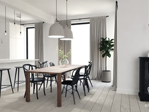 Dom pod Tarnowem - Duża otwarta biała jadalnia w salonie, styl skandynawski - zdjęcie od OGRODY I WNĘTRZA - KAROLINA POPIEL