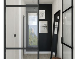 Dom pod Tarnowem - Mały biały czarny hol / przedpokój, styl skandynawski - zdjęcie od OGRODY I WNĘTRZA - KAROLINA POPIEL