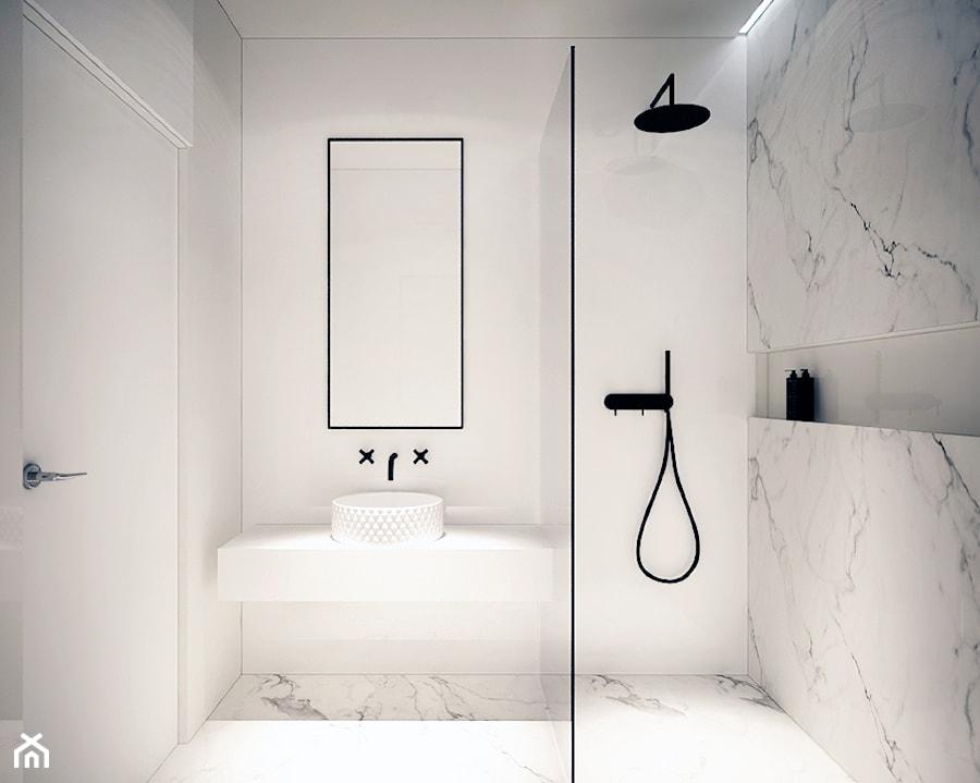 Mieszkanie Na Zabłociu - Mała łazienka w bloku bez okna, styl minimalistyczny - zdjęcie od KAROLINA POPIEL - ARCHITEKURA WNĘTRZ