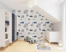Dom pod Krakowem II - Średni biały szary pokój dziecka dla chłopca dla niemowlaka, styl skandynawski - zdjęcie od OGRODY I WNĘTRZA - KAROLINA POPIEL