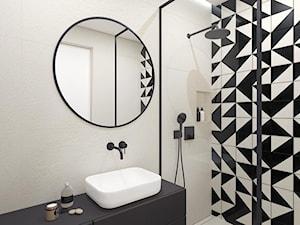 Łazienka na Służewie - Mała biała beżowa czarna łazienka na poddaszu w bloku w domu jednorodzinnym bez okna, styl minimalistyczny - zdjęcie od OGRODY I WNĘTRZA - KAROLINA POPIEL