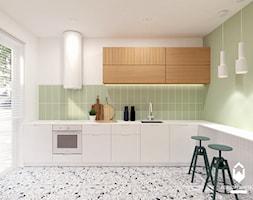 Mieszkanie w Centrum Krakowa - Średnia zamknięta biała zielona kuchnia w kształcie litery l z oknem, styl skandynawski - zdjęcie od OGRODY I WNĘTRZA - KAROLINA POPIEL
