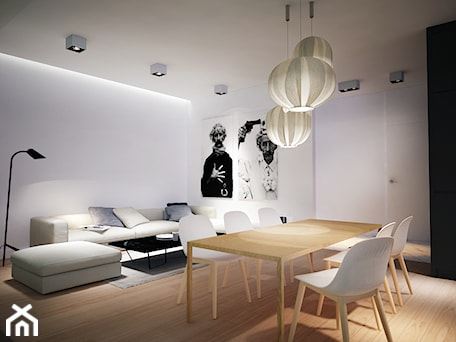 Aranżacje wnętrz - Jadalnia: Mieszkanie Na Zabłociu - Średnia otwarta biała jadalnia w salonie, styl skandynawski - KAROLINA POPIEL - ARCHITEKURA WNĘTRZ. Przeglądaj, dodawaj i zapisuj najlepsze zdjęcia, pomysły i inspiracje designerskie. W bazie mamy już prawie milion fotografii!