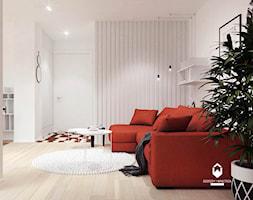 Mieszkanie z czerwonym akcentem - Mały biały salon, styl skandynawski - zdjęcie od OGRODY I WNĘTRZA - KAROLINA POPIEL