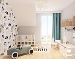 Dom pod Krakowem II - Średni biały szary pokój dziecka dla dziewczynki dla ucznia dla niemowlaka dla malucha, styl skandynawski - zdjęcie od OGRODY I WNĘTRZA - KAROLINA POPIEL