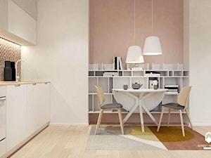 Mieszkanie z czerwonym akcentem - Mała otwarta szara jadalnia w kuchni, styl skandynawski - zdjęcie od OGRODY I WNĘTRZA - KAROLINA POPIEL