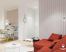 Mieszkanie z czerwonym akcentem - Mały szary salon z jadalnią, styl skandynawski - zdjęcie od OGRODY I WNĘTRZA - KAROLINA POPIEL