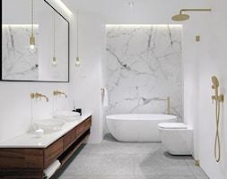 Dom pod Tarnowem - Średnia biała łazienka w bloku w domu jednorodzinnym bez okna, styl nowoczesny - zdjęcie od KAROLINA POPIEL - ARCHITEKURA WNĘTRZ - Homebook