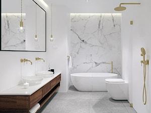 Dom pod Tarnowem - Średnia biała łazienka w bloku w domu jednorodzinnym bez okna, styl klasyczny - zdjęcie od OGRODY I WNĘTRZA - KAROLINA POPIEL