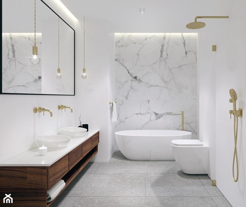 Dom pod Tarnowem - Średnia biała łazienka w bloku w domu jednorodzinnym bez okna, styl nowoczesny - zdjęcie od KAROLINA POPIEL - ARCHITEKURA WNĘTRZ