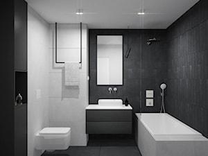 Mieszkanie na Zabłociu 2. - Mała czarna szara łazienka na poddaszu w bloku w domu jednorodzinnym bez okna, styl minimalistyczny - zdjęcie od OGRODY I WNĘTRZA - KAROLINA POPIEL