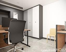 Przestrzeń biurowa firmy Repablo - Średnie czarne białe biuro domowe w pokoju, styl industrialny - zdjęcie od przestrzeńNOVA - Homebook