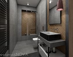 Wąska łazienka z prysznicem walk-in - Średnia szara łazienka bez okna, styl industrialny - zdjęcie od przestrzeńNOVA - Homebook