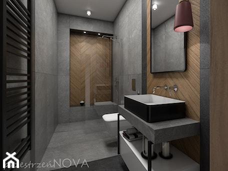 Aranżacje wnętrz - Łazienka: Wąska łazienka z prysznicem walk-in - Średnia szara łazienka bez okna, styl industrialny - przestrzeńNOVA. Przeglądaj, dodawaj i zapisuj najlepsze zdjęcia, pomysły i inspiracje designerskie. W bazie mamy już prawie milion fotografii!