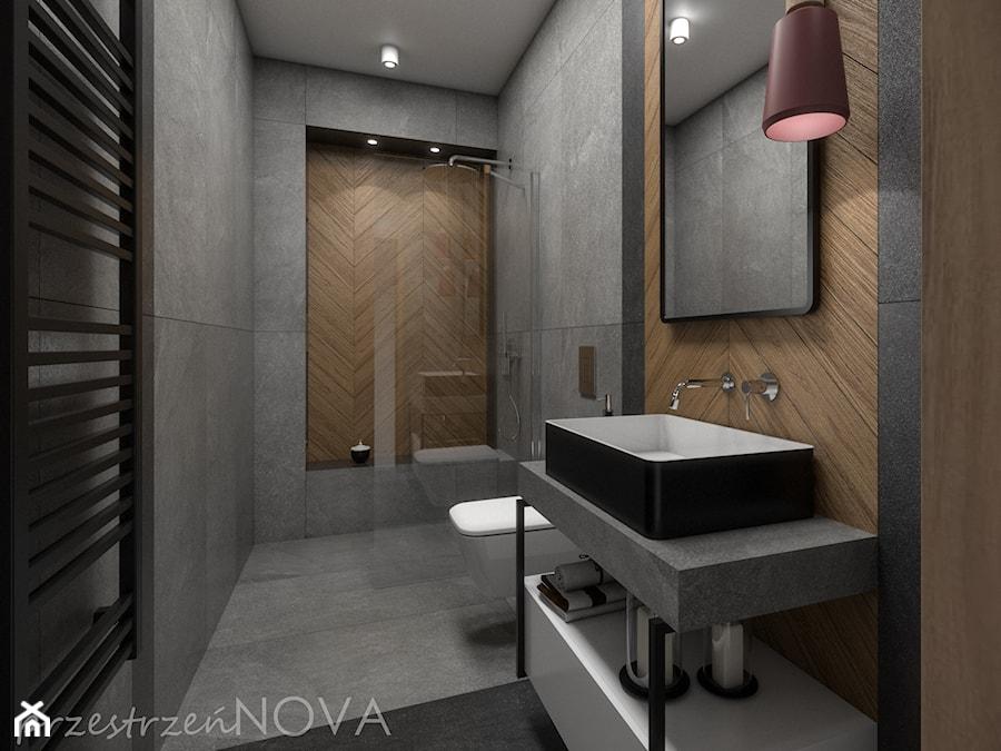 Wąska łazienka z prysznicem walk-in - Średnia szara łazienka bez okna, styl industrialny - zdjęcie od przestrzeńNOVA