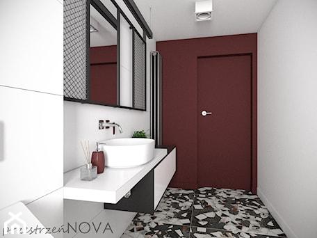 Aranżacje wnętrz - Łazienka: Łazienka w biurze - Mała biała brązowa łazienka w bloku w domu jednorodzinnym bez okna, styl indust ... - przestrzeńNOVA. Przeglądaj, dodawaj i zapisuj najlepsze zdjęcia, pomysły i inspiracje designerskie. W bazie mamy już prawie milion fotografii!