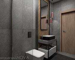 Wąska łazienka z prysznicem walk-in - Mała czarna łazienka w bloku w domu jednorodzinnym bez okna, ... - zdjęcie od przestrzeńNOVA - Homebook