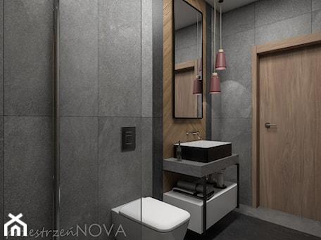 Aranżacje wnętrz - Łazienka: Wąska łazienka z prysznicem walk-in - Mała czarna łazienka w bloku w domu jednorodzinnym bez okna, ... - przestrzeńNOVA. Przeglądaj, dodawaj i zapisuj najlepsze zdjęcia, pomysły i inspiracje designerskie. W bazie mamy już prawie milion fotografii!