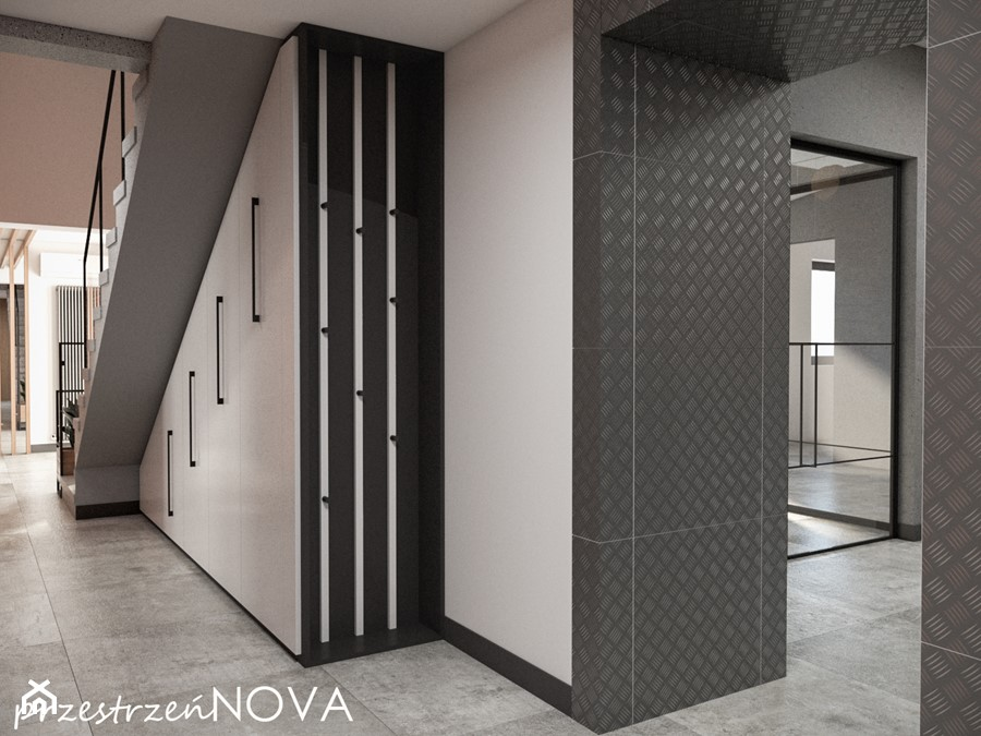 Przestrzeń biurowa firmy Repablo - Duże szare białe biuro pracownia w pokoju, styl industrialny - zdjęcie od przestrzeńNOVA