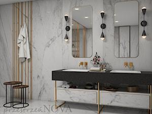 ŁAZIENKA DLA DWOJGA - Średnia biała łazienka na poddaszu w bloku w domu jednorodzinnym bez okna, styl eklektyczny - zdjęcie od przestrzeńNOVA