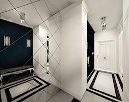 Korytarz Niebieski - Średni biały czarny hol / przedpokój, styl nowojorski - zdjęcie od WKWADRAT - PRACOWNIA ARANŻACJI WNĘTRZ