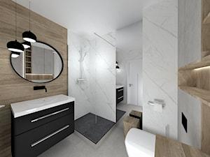 Łazienka - Średnia szara łazienka w bloku w domu jednorodzinnym bez okna, styl minimalistyczny - zdjęcie od WKWADRAT - PRACOWNIA ARANŻACJI WNĘTRZ