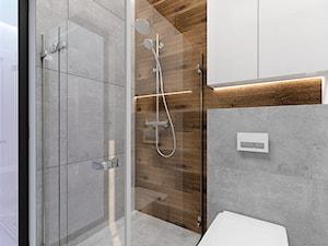 Projekt gościnnej łazienki w domku jednorodzinnym - Średnia biała łazienka w bloku w domu jednorodzinnym bez okna, styl nowoczesny - zdjęcie od WKWADRAT - PRACOWNIA ARANŻACJI WNĘTRZ