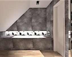Łazienka w stylu nowoczesnym - Średnia beżowa łazienka na poddaszu w domu jednorodzinnym bez okna, styl nowoczesny - zdjęcie od WKWADRAT - PRACOWNIA ARANŻACJI WNĘTRZ