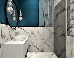 Łazienka gościnna, dom jednorodzinny - Mała niebieska szara łazienka w bloku w domu jednorodzinnym bez okna, styl nowojorski - zdjęcie od WKWADRAT - PRACOWNIA ARANŻACJI WNĘTRZ
