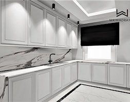 Dom pod Toruniem, Kuchnia - Średnia zamknięta szara kuchnia w kształcie litery l z oknem, styl klasyczny - zdjęcie od WKWADRAT - PRACOWNIA ARANŻACJI WNĘTRZ