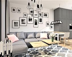 Projekt salonu - Mały szary salon z kuchnią z jadalnią, styl rustykalny - zdjęcie od WKWADRAT - PRACOWNIA ARANŻACJI WNĘTRZ