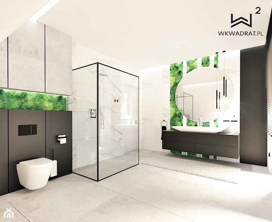Łazienka na poddaszu z mchem - Łazienka, styl nowoczesny - zdjęcie od WKWADRAT - PRACOWNIA ARANŻACJI WNĘTRZ