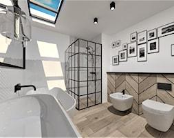 Projekt łazienki w stylu Industrialnym - Średnia biała szara łazienka w bloku w domu jednorodzinnym z oknem, styl industrialny - zdjęcie od WKWADRAT - PRACOWNIA ARANŻACJI WNĘTRZ - Homebook
