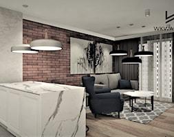 Apartament na wynajem w Kołobrzegu 2 - Mały szary brązowy salon z kuchnią, styl rustykalny - zdjęcie od WKWADRAT - PRACOWNIA ARANŻACJI WNĘTRZ
