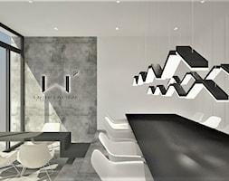 Projekt biura - Duże szare białe biuro pracownia w pokoju, styl minimalistyczny - zdjęcie od WKWADRAT - PRACOWNIA ARANŻACJI WNĘTRZ
