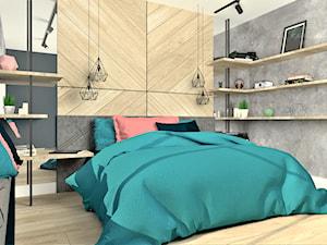 Sypialnia - Średnia biała czarna sypialnia małżeńska z balkonem / tarasem, styl rustykalny - zdjęcie od WKWADRAT - PRACOWNIA ARANŻACJI WNĘTRZ