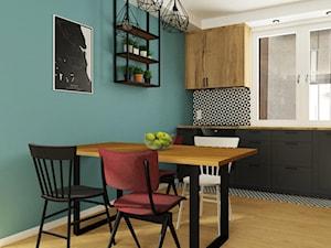 Industrialny/retro - Średnia zamknięta biała czarna niebieska kuchnia jednorzędowa z oknem, styl industrialny - zdjęcie od Magda Banach