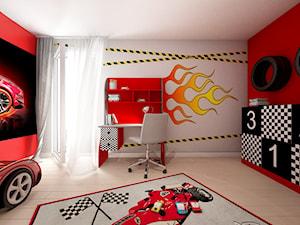 Pokój Auta - Mały szary czerwony pokój dziecka dla chłopca dla dziewczynki dla ucznia dla malucha dla nastolatka, styl nowoczesny - zdjęcie od Sharing4Kids
