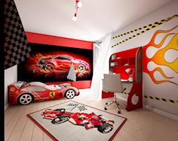 Pokój Auta - Średni szary czerwony pokój dziecka dla chłopca dla dziewczynki dla ucznia dla malucha, styl nowoczesny - zdjęcie od Sharing4Kids
