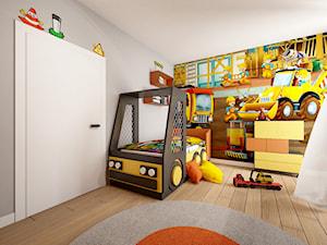 Pokój Bob Budowniczy - Średni biały szary kolorowy pokój dziecka dla chłopca dla malucha, styl nowoczesny - zdjęcie od Sharing4Kids