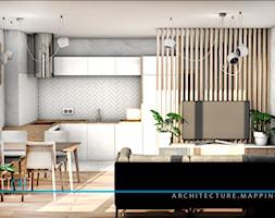 pOR_06 - White&Wood - Mała szara kuchnia w kształcie litery l w aneksie, styl nowoczesny - zdjęcie od Project[OR] Group