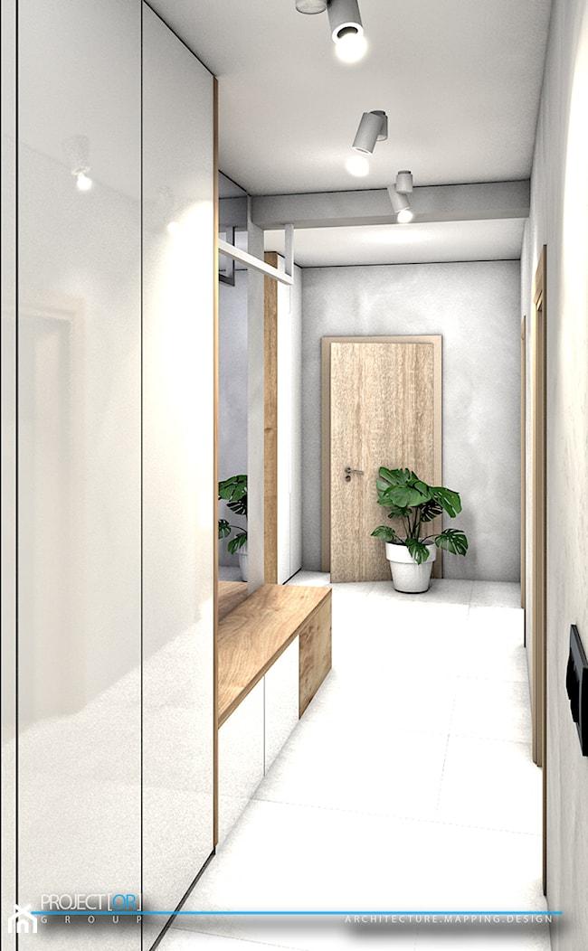 pOR_06 - White&Wood - Mały szary hol / przedpokój, styl nowoczesny - zdjęcie od Project[OR] Group - Homebook