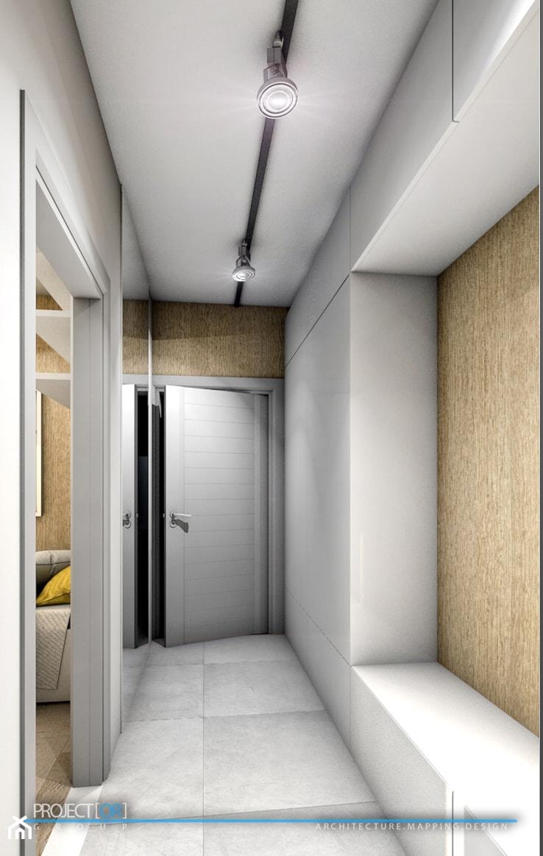 pOR_05 - Wood&Gray - Mały beżowy szary hol / przedpokój, styl nowoczesny - zdjęcie od Project[OR] Group